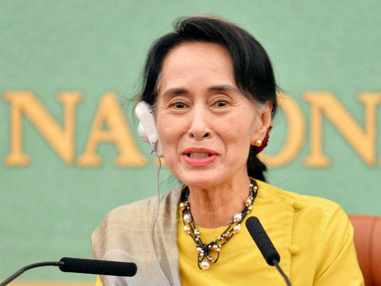 Myanmar opposition leader Aung San Suu Kyi speaks during a press conference in Tokyo on April 17, 2013