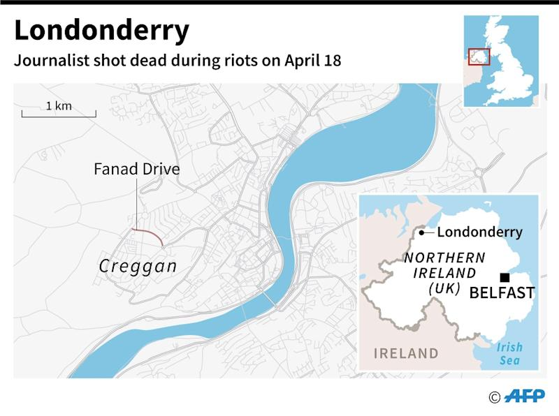 Map of Londonderry in Northern Ireland, where a journalist was shot dead on April 18 (AFP Photo/)