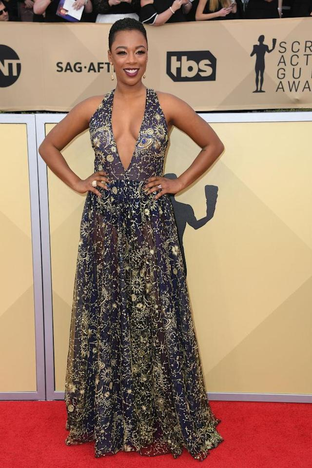 <p>The sheer gown featured out of this world embroidery. (Photo: Getty Images) </p>