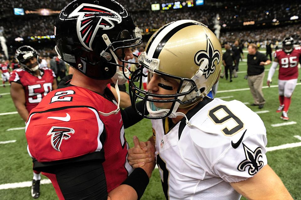 Matt Ryan and Drew Brees have brought star power to a long-running rivalry. (Getty)