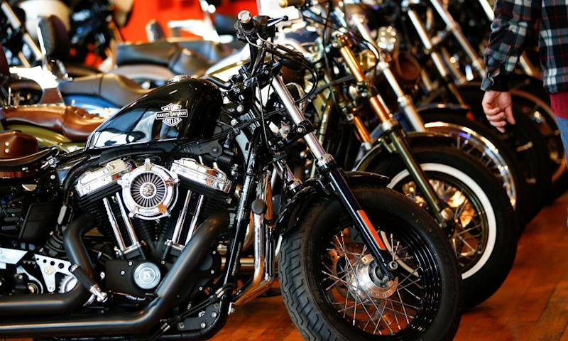 Harley-Davidson motorcycles for sale at a showroom in London.
