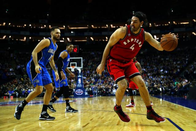 LONDON, ENGLAND - JANUARY 14: Luis Scola #4 of the Toronto Raptors in action during the 2016 NBA Global Games London match between Toronto Raptors and Orlando Magic at The O2 Arena on January 14, 2016 in London, England. (Photo by Clive Rose/Getty Images)