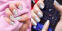 """<p>2021 is right around the corner, people! Wave your hands in the air and while you're at it, take a second to look at your nail beds. Are they polished? Clean? Ready for a new year of possibilities? If you answered no to any of the previous questions, this guide of nail trends to try in 2021 is for you. <a href=""""https://www.instagram.com/enamelle/"""" rel=""""nofollow noopener"""" target=""""_blank"""" data-ylk=""""slk:Elle"""" class=""""link rapid-noclick-resp"""">Elle</a>, a celebrity nail stylist based in New York and LA, broke down the 5 biggest nail designs of the glorious new year. From metallics with a matte finish to press-ons that will make you feel fancy on a budget, your next nail job awaits. </p>"""