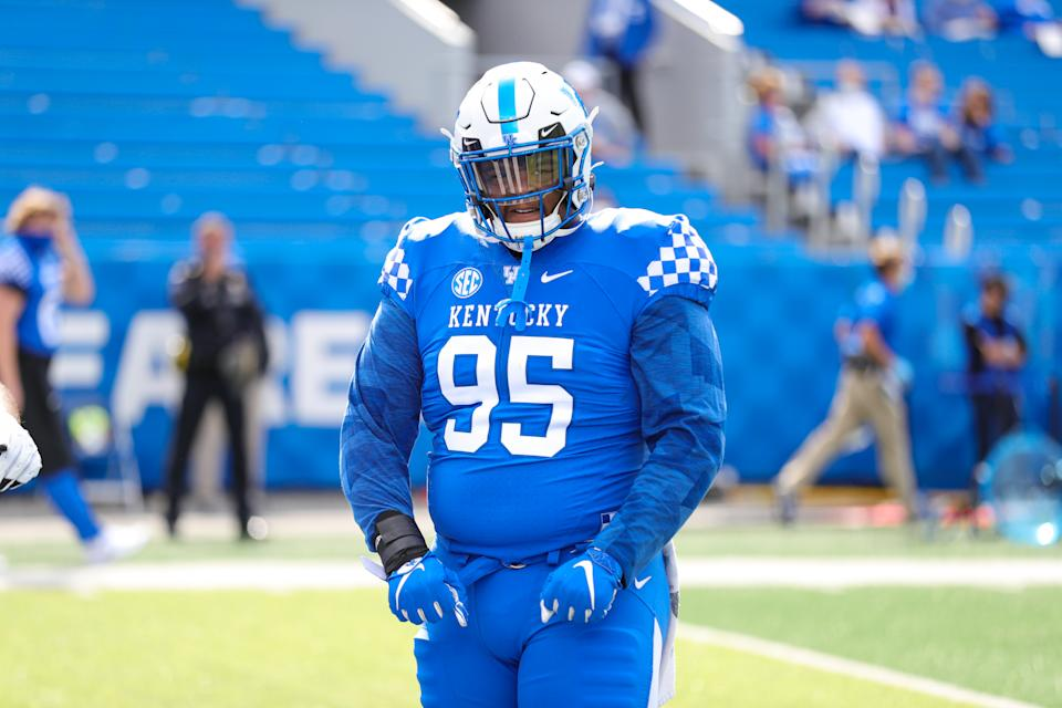 Kentucky NT Quinton Bohanna takes up a lot of space in the middle. (Photo by UK Athletics/Collegiate Images/Getty Images)