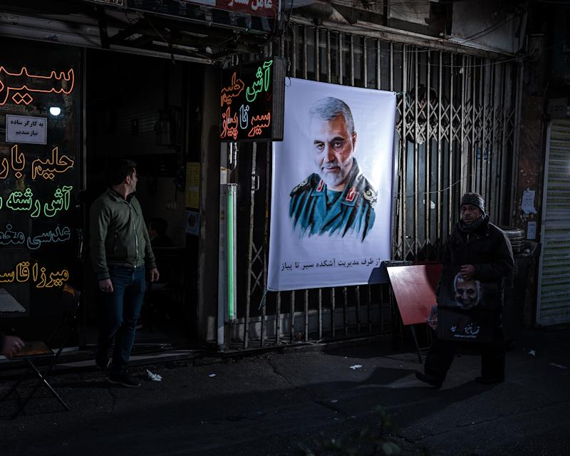 In the immediate aftermath of his death, Soleimani's face appeared everywhere in Tehran. | Newsha Tavakolian—Magnum Photos for TIME