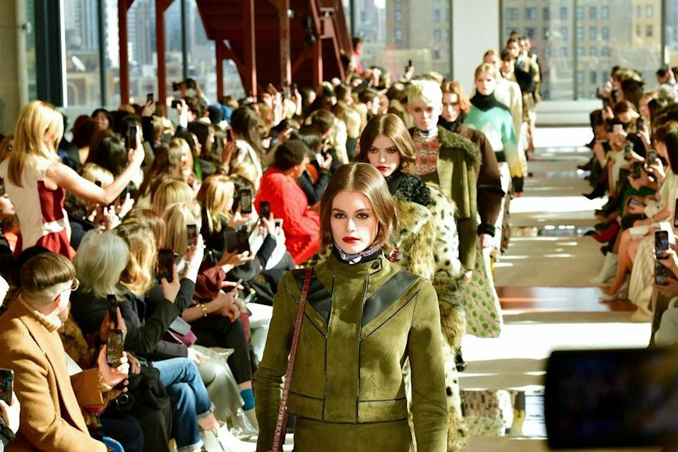 Models walks the runway for a Longchamp fashion show during February 2020 (Getty Images for NYFW: The Shows)