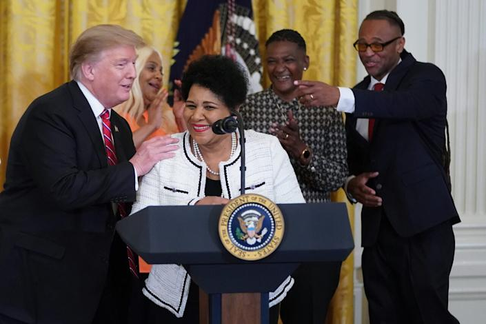 Alice Marie Johnson, who had her sentence commuted by President Donald Trump after she served 21 years in prison for cocaine trafficking, speaks during a celebration of the First Step Act in the East Room of the White House April 01, 2019 in Washington, DC. (Photo by Chip Somodevilla/Getty Images)