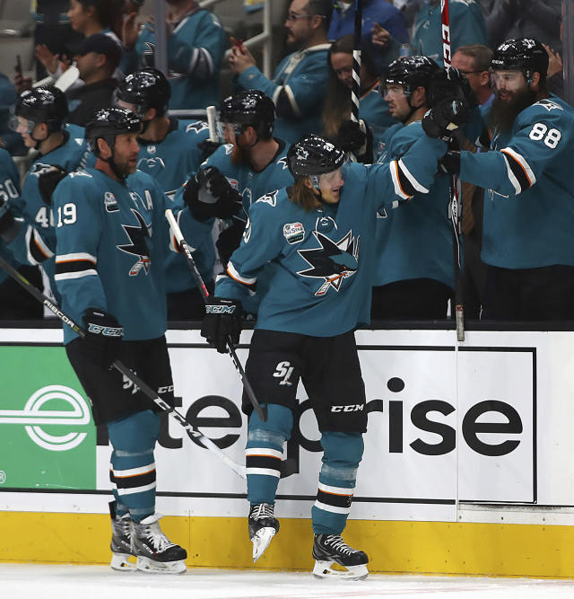 San Jose Sharks' Joe Thornton (19) is congratulated by teammates after scoring a goal against the Minnesota Wild during the second period of an NHL hockey game Tuesday, Nov. 6, 2018, in San Jose, Calif. Ryan Suter (20) assisted on the goal. (AP Photo/Ben Margot)