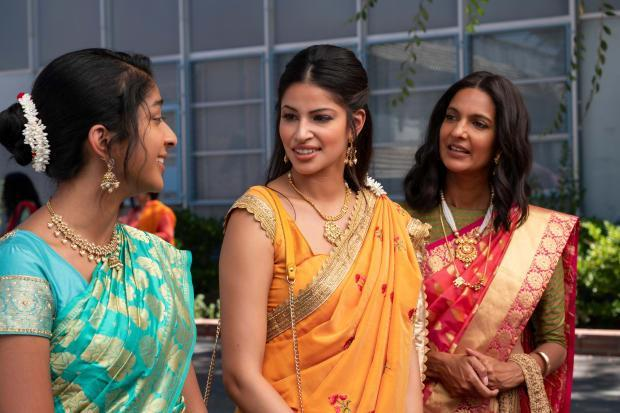 (L to R), Maitreyi Ramakrishnan as Devi, Richa Moorjani as Kamala and Poorna Jagannathan as Nalini in 'Never Have I Ever.'
