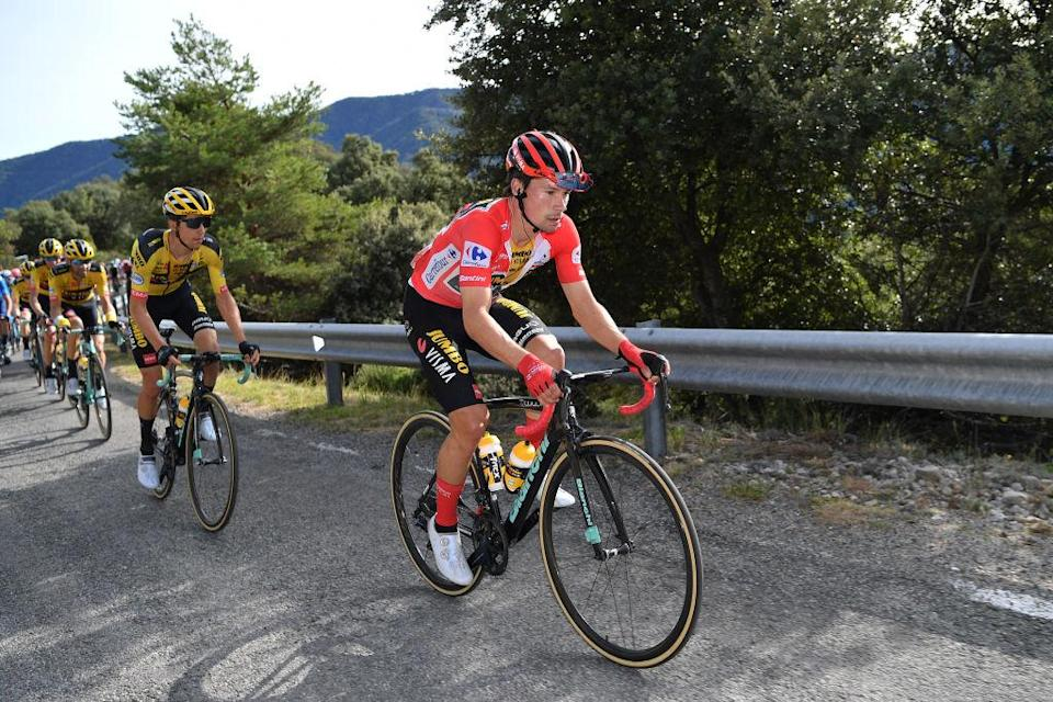 SABIANIGO SPAIN  OCTOBER 24 Primoz Roglic of Slovenia and Team Jumbo  Visma Red Leader Jersey  during the 75th Tour of Spain 2020 Stage 5 a 1844km Huesca to Sabinigo 835m  lavuelta  LaVuelta20  La Vuelta  on October 24 2020 in Sabinigo Spain Photo by Justin SetterfieldGetty Images