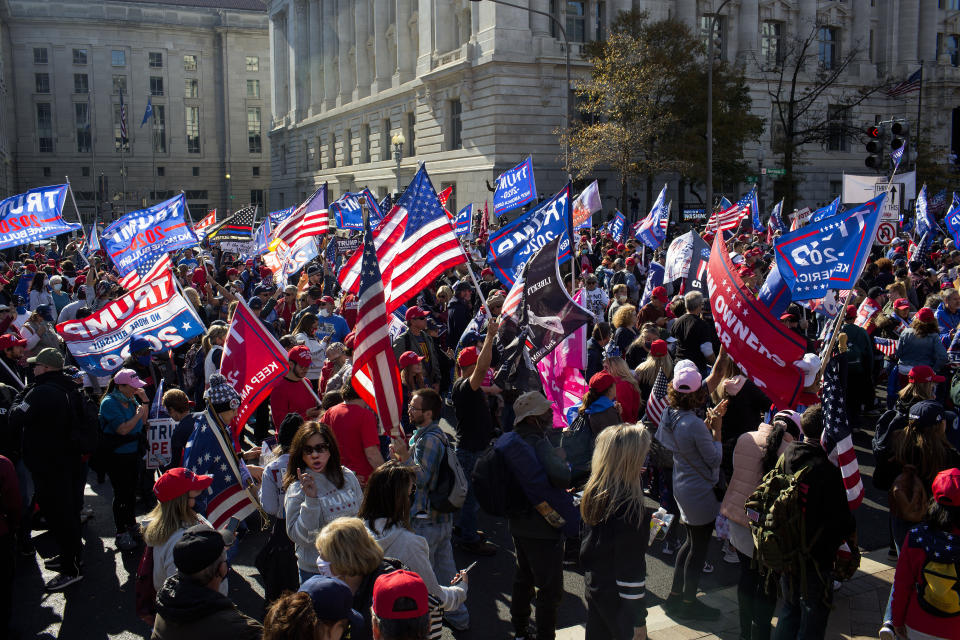 WASHINGTON, D.C. - NOVEMBER 14: Tens of thousands of Trump supporters rally and march to declare the 2020 Presidential election results a fraud and the true winner to be President Trump, on November 14, 2020 in downtown Washington, D.C.  (Photo by Andrew Lichtenstein/Corbis via Getty Images)