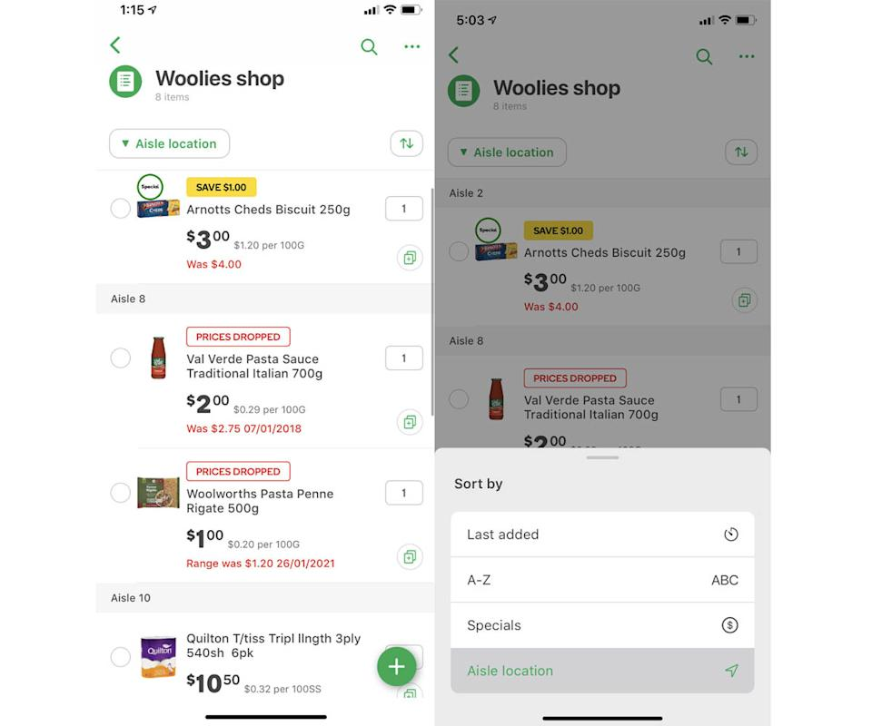 A Woolworths online shopping list. Source: Woolworths