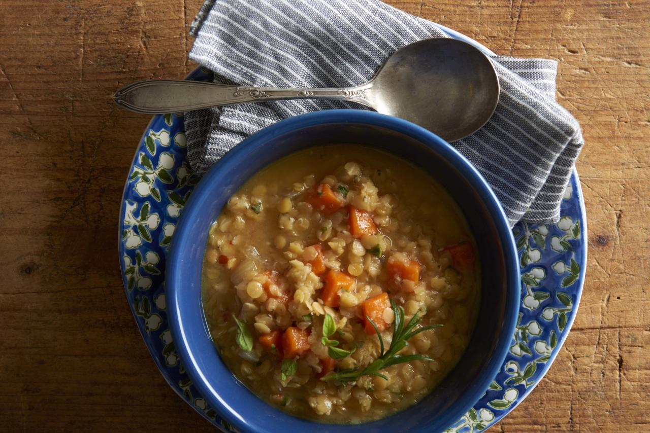 """<p>Brothy, thin soups may not fill you up, but this thick 30-minute Greek soup with whole-grain pita wedges will keep you full until your next meal. The dish is full of satiating lentils, which provide more than one-third of the recommended daily intake of protein and more than half the recommended intake of protein. Plus, you get 5.3 grams of resistant starch per bowl.</p> <p><b>Try this recipe: </b><a href=""""https://www.health.com/health/recipe/0,,10000001992635,00.html""""><b>Greek Lentil Soup with Toasted Pita</b></a></p>"""