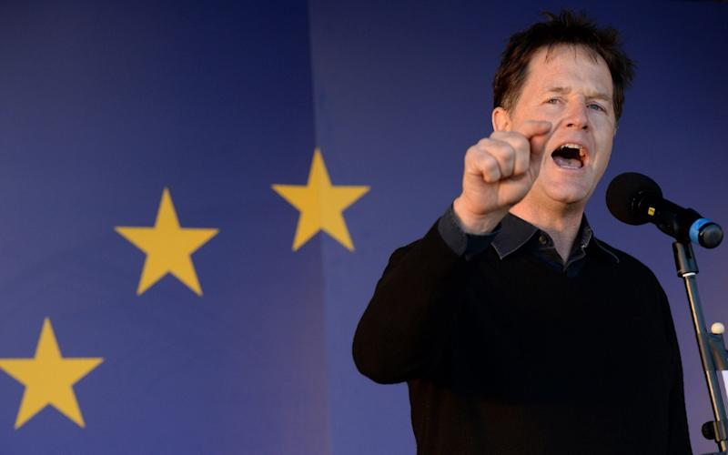 Nick Clegg speaks at an anti-Brexit rally in 2017 - AFP