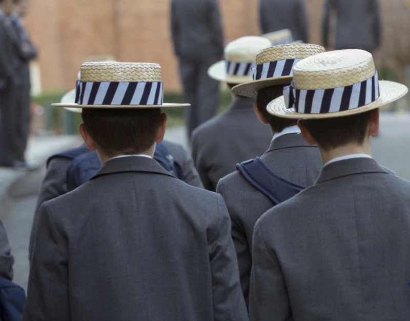 Pictured are the backs of Shore School students wearing the uniform.
