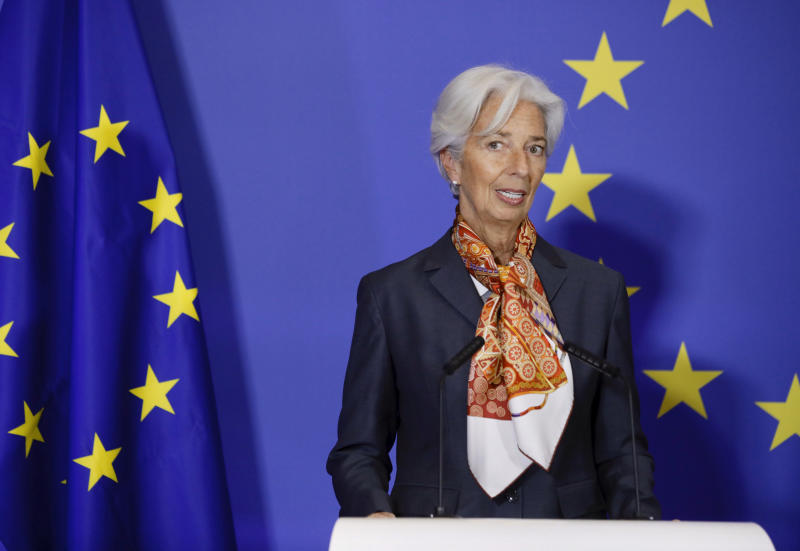 European Central Bank President Christine Lagarde speaks during an event to mark the 10th anniversary of the entry into force of the Lisbon Treaty at the House of European History in Brussels, Sunday, Dec. 1, 2019. (AP Photo/Olivier Matthys)