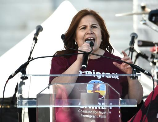 CHIRLA's executive director Angelica Salas, pictured in 2018, said President Donald Trump's rhetoric had 'fanned the flames of discord'