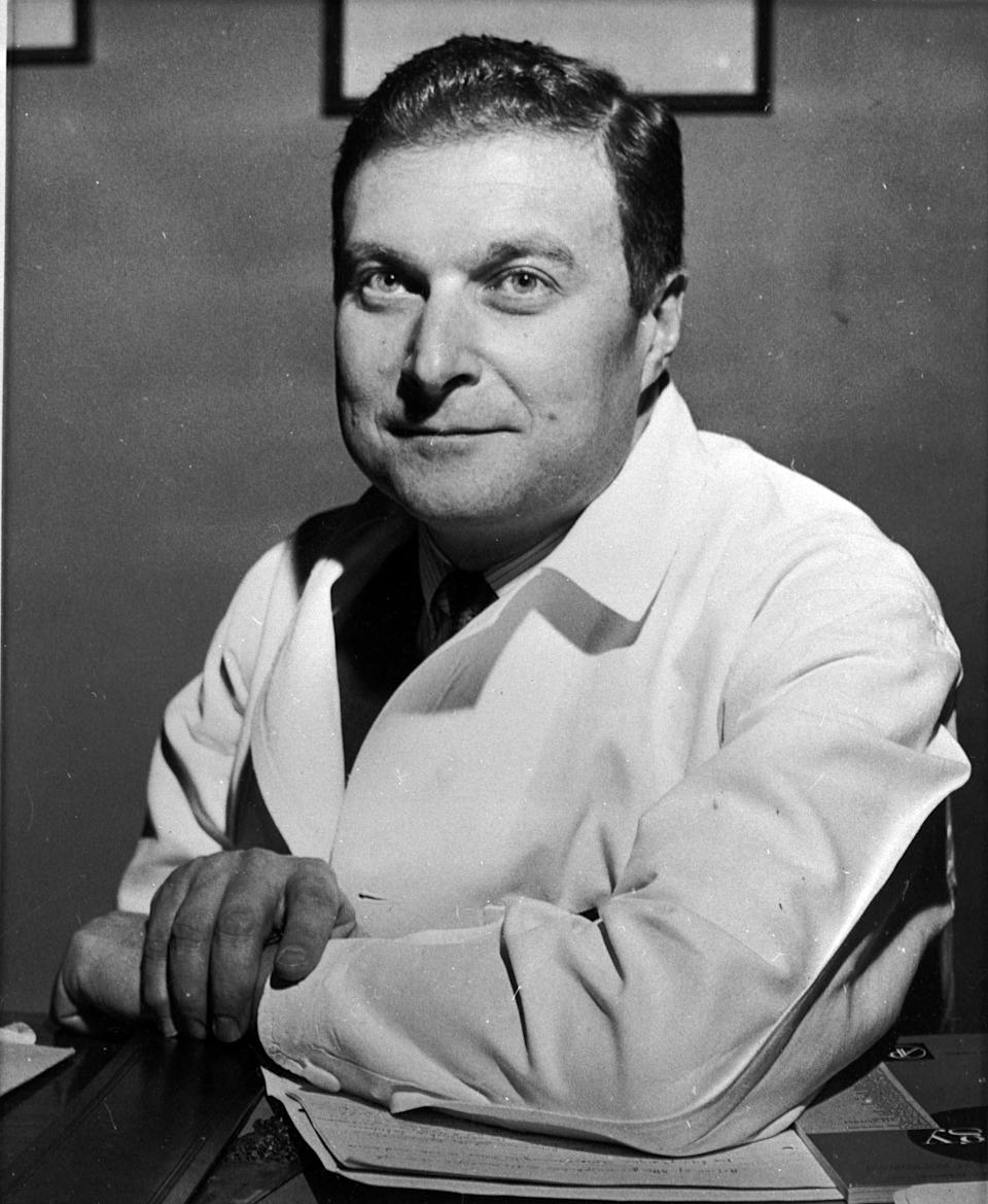 FILE - This Feb. 1961 file photo show Dr. Hilary Koprowski. Dr. Hilary Koprowski, a pioneering virologist who developed the first successful oral vaccination for polio, died Thursday, April 11, 2013 at his suburban Philadelphia home. He was 96. (AP Photo/File)