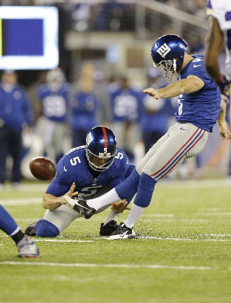 New York Giants kicker Josh Brown (3) kicks a field goal during the first half of an NFL football game against the Minnesota Vikings Monday, Oct. 21, 2013 in East Rutherford, N.J. (AP Photo/Julio Cortez)