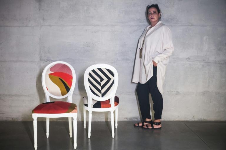 The pandemic made people want to make their house 'a happy place, so with more colour and greenery', says designer India Mahdavi (AFP/MARCO BERTORELLO)