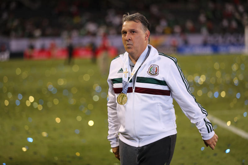 CHICAGO, IL - JULY 07: Gerardo Martino the head coach / manager of Mexico with a CONCACAF Gold Cup winners medal after the 2019 CONCACAF Gold Cup Final between Mexico and United States of America at Soldier Field on July 7, 2019 in Chicago, Illinois. (Photo by Matthew Ashton - AMA/Getty Images)