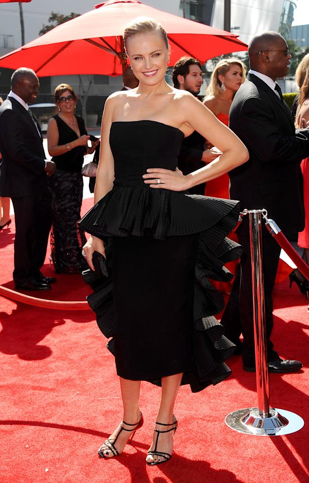 Malin Akerman arrives at the 2013 Primetime Creative Arts Emmy Awards, on Sunday, September 15, 2013 at Nokia Theatre L.A. Live, in Los Angeles, Calif. (Photo by Scott Kirkland/Invision for Academy of Television Arts & Sciences/AP Images)