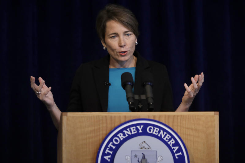 Massachusetts Attorney General Maura Healey takes questions from members of the media during a news conference, Monday, Sept. 16, 2019, in Boston. Healey detailed her efforts to continue to pursue Purdue Pharma and the Sackler family despite the company's decision to file for bankruptcy late Sunday, Sept. 15, 2019. (AP Photo/Steven Senne)