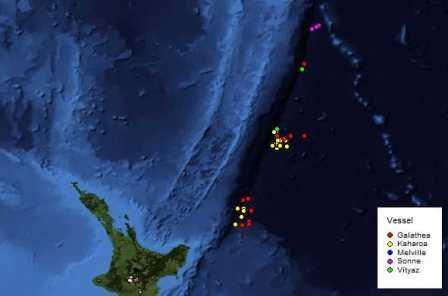 Map of the area, showing the sampling locations of previous expeditions