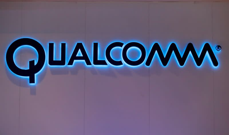 Qualcomm's logo is seen during Mobile World Congress in Barcelona