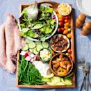 <p>This pretty salad board with greens, marinated peaches and fresh summer veggies is perfect for an evening outdoors--or serve it for a light, summery lunch. The creamy dressing can be made ahead to make assembly a breeze. Feel free to add additional vegetables to the board to make the most of all that summer has to offer.</p>