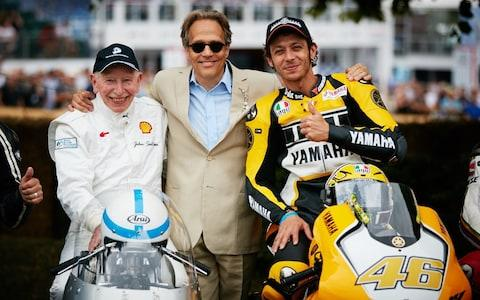 From the Goodwood Festival of Speed hosted this year at Goodwood House, Chichester, West Sussex, UK, on June 28, 2015. © James Esq. www.dominic-james.com John Surtees, left, and Valentino Rossi, right, were among the stars with host Lord March at this year's Goodwood Festival of Speed - Credit: Dominic James
