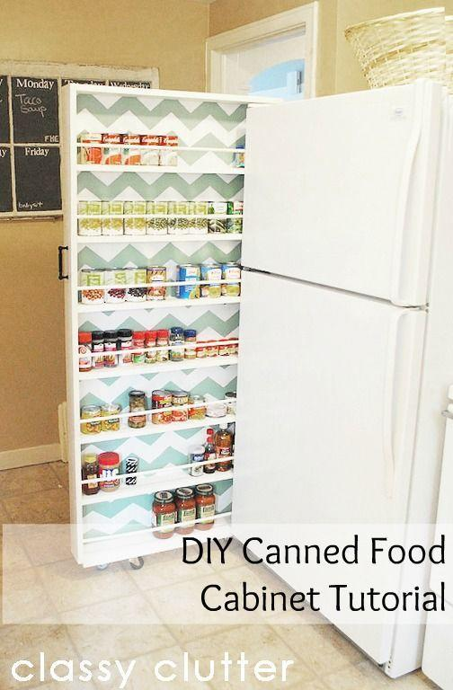 """<p>The skinny space between your fridge and the wall is prime real estate for storing canned goods (and a cute chevron surprise never hurts).</p><p><a href=""""http://www.classyclutter.net/2012/05/build-your-own-extra-storage-diy-canned-food-organizer.html"""" rel=""""nofollow noopener"""" target=""""_blank"""" data-ylk=""""slk:Get the tutorial at Classy Clutter »"""" class=""""link rapid-noclick-resp""""><em>Get the tutorial at Classy Clutter »</em></a></p>"""