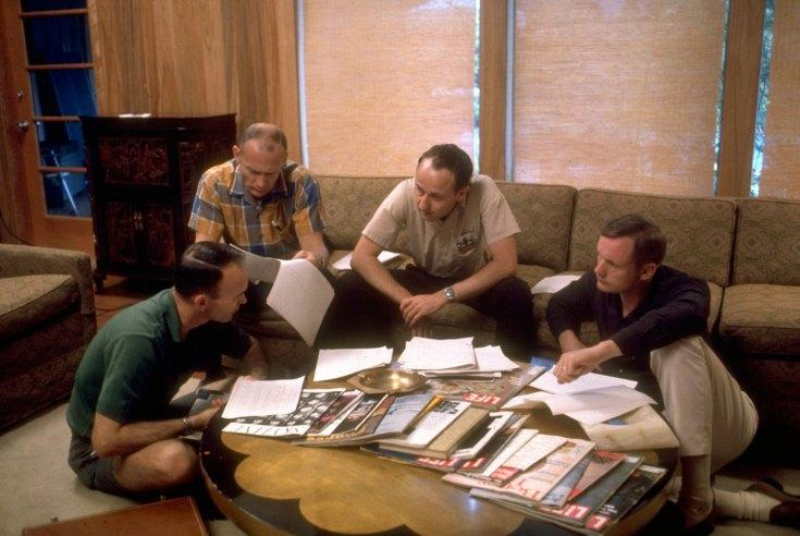 Not originally published in LIFE. The Apollo 11 astronauts discuss their upcoming moon mission with an engineer from Houston's Mission Control Center (second from right), Texas, 1969.(Ralph Morse—Time & Life Pictures/Getty Images)   Click here to see the full collection at LIFE.com
