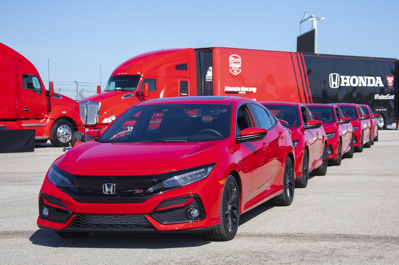 """<p>For the 2020 model year the Honda Civic Si gets updated with exterior and interior changes, revised transmission gearing, Active Sound Control, and a host of new standard driver assists. The refresh includes tweaks to the front and rear bumpers, LED headlights, and new blackout-style 18-inch wheels. The interior cabin gets a host of new red accents on the dashboard and seats. Honda also says the Civic Si's new shorter final-drive ratio should aid in acceleration responses in each gear. The newly added Honda Sensing from the Si's older brother comes standard and includes automated emergency braking, adaptive cruise control, and lane-keeping assist.<br></p><p>The 2020 Civic Si's value and overall goodness are hard to beat at its price. For 2020, that price has gone up by $735, bringing the base price up to $25,930, but you get a lot for under $26,000. Sportier alternatives such as the <a href=""""https://www.caranddriver.com/subaru/wrx"""" target=""""_blank"""">Subaru WRX</a> and <a href=""""https://www.caranddriver.com/volkswagen/golf-gti"""" target=""""_blank"""">Volkswagen Golf GTI</a>/<a href=""""https://www.caranddriver.com/volkswagen/jetta-gli"""" target=""""_blank"""">Jetta GLI</a> exist, but these examples have starting prices above the Civic Si, and many more features on those competitors are additional-cost options. A manual gearbox is the sole offering for the Si, and we're okay with that. Optional summer tires are $200 and are well worth it if you want the extra performance. Click on to see in detail what's new for the 2020 Honda Civic Si coupe and sedan.</p>"""
