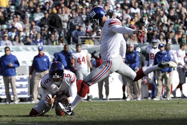 New York Giants kicker Josh Brown (3) kicks a field goal during the second half of an NFL football game against the Philadelphia Eagles on Sunday, Oct. 27, 2013, in Philadelphia. (AP Photo/Michael Perez)