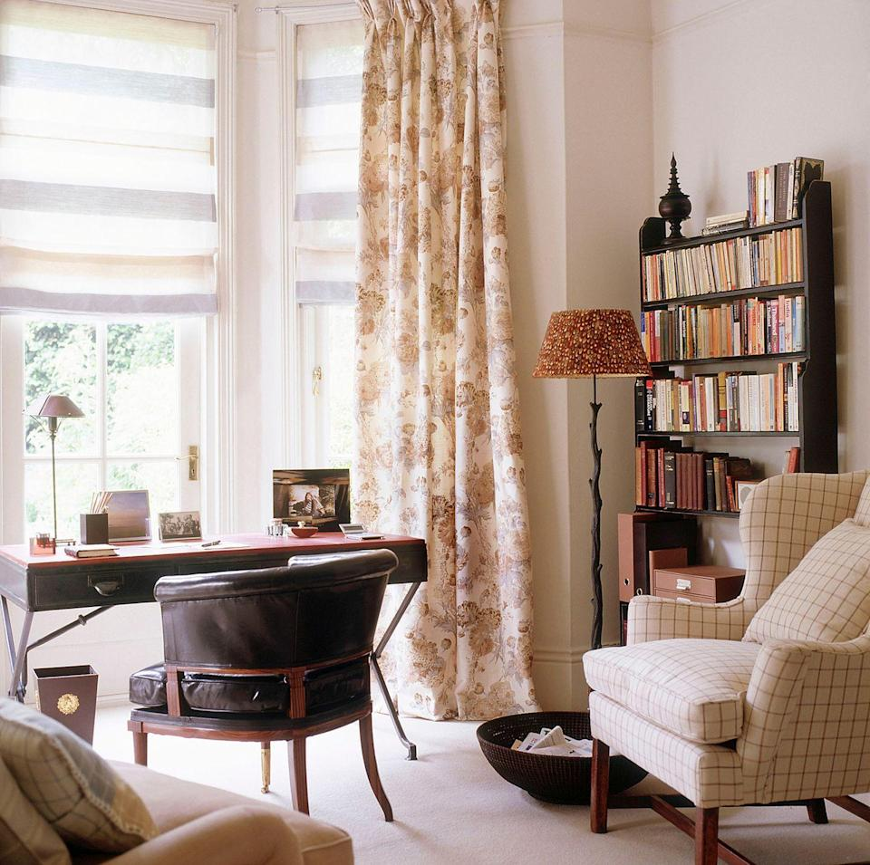 <p>A home office is the perfect place to experiment with different patterns. Choose a few of your favorite prints for pieces like seating and window treatments, but stick to the same color family for a cohesive look. </p>