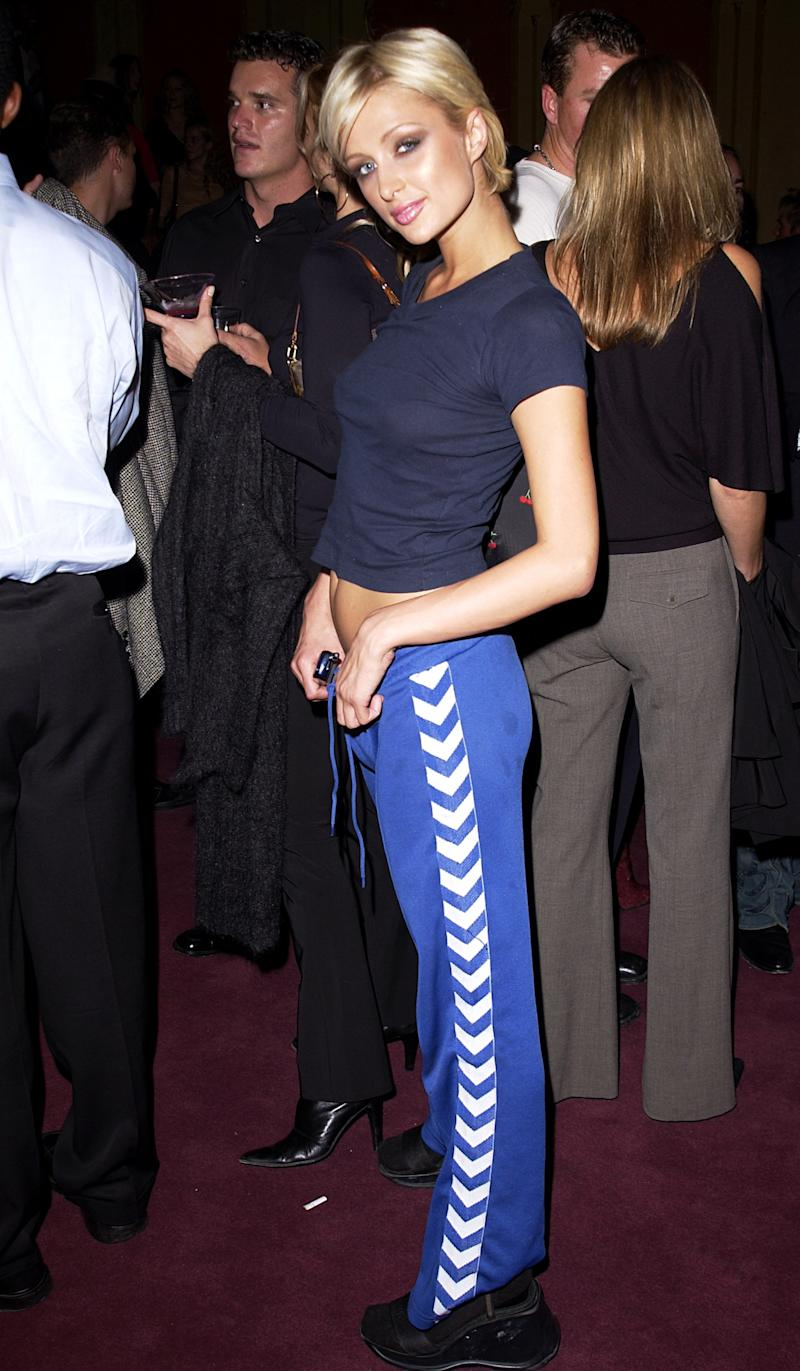 Paris Hilton wears track pants on the red carpet during the Gen Art: Fresh Faces in Fashion event in Los Angeles.