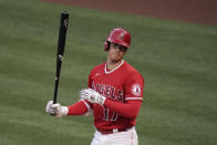 Los Angeles Angels' Shohei Ohtani reacts after striking out during the first inning of the team's baseball game against the Tampa Bay Rays, Thursday, May 6, 2021, in Anaheim, Calif. (AP Photo/Jae C. Hong)