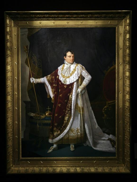 A painting dated 1807 by Robert Lefevre of Napoleon in coronation costume at the Great Chancellery of the Order of the Legion of Honor Museum in Paris