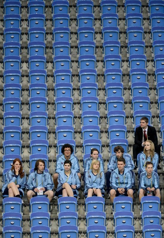 Volunteers watch a training session of Croatia's national football team on June 9, 2012, at the Municipal Stadium in Poznan on the eve of their Euro 2012 football championships match against Republic of Ireland. AFP PHOTO/ ODD ANDERSENODD ANDERSEN/AFP/GettyImages