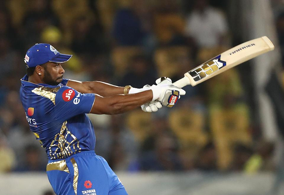 Kieron Pollard of the Mumbai Indians bats during the Indian Premier League Final match between the the Mumbai Indians and Chennai Super Kings at Rajiv Gandhi International Cricket Stadium on May 12, 2019 in Hyderabad, India. (Photo by Robert Cianflone/Getty Images)