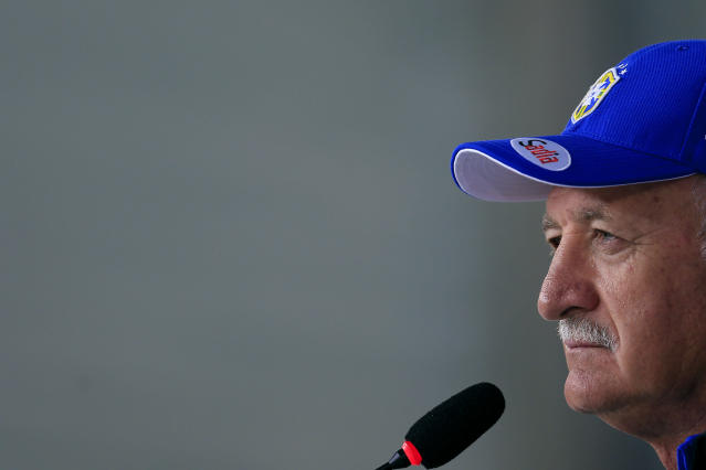 Brazil's coach Luiz Felipe Scolari listens to question during a press conference at the Granja Comary training center in Teresopolis, Brazil, Thursday, June 5, 2014. Brazil will face Croatia at the opening match of the World Cup soccer tournament on June 12. (AP Photo/Hassan Ammar)