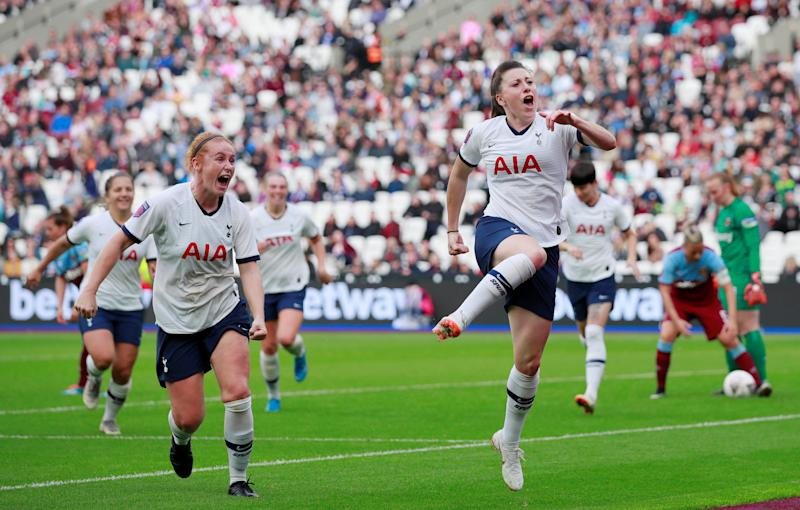Quinn celebrates scoring Tottenham's second goal against West Ham at the London Stadium in September // Action Images via Reuters/Andrew Couldridge