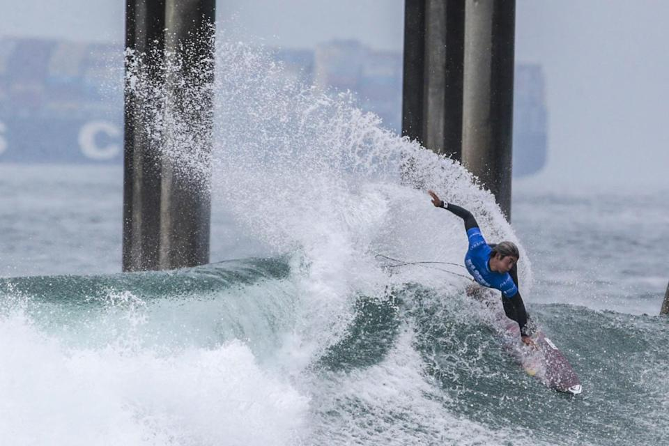 Kanoa Igarashi competes in a quarterfinal heat at the U.S. Open of Surfing