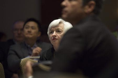 United States Federal Reserve Chair Janet Yellen waits to speak at the 2014 National Interagency Community Reinvestment Conference in Chicago, March 31, 2014. REUTERS/John Gress