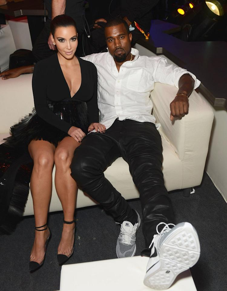 FRANKFURT AM MAIN, GERMANY - NOVEMBER 11:  (EXCLUSIVE COVERAGE) Kim Kardashian and Kanye West pose in the VIP Glamour area at the MTV EMA's 2012 at Festhalle Frankfurt on November 11, 2012 in Frankfurt am Main, Germany.  (Photo by Dave Hogan/MTV 2012/Getty Images for MTV)