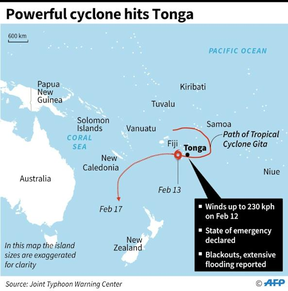 Map showing Tonga and path of a powerful cyclone