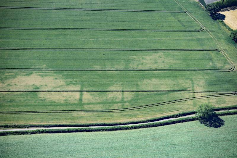 A Roman fortlet whose remains have lain hidden beneath a field near Magor, south Wales, for centuries (RCAHMW/SWNS)
