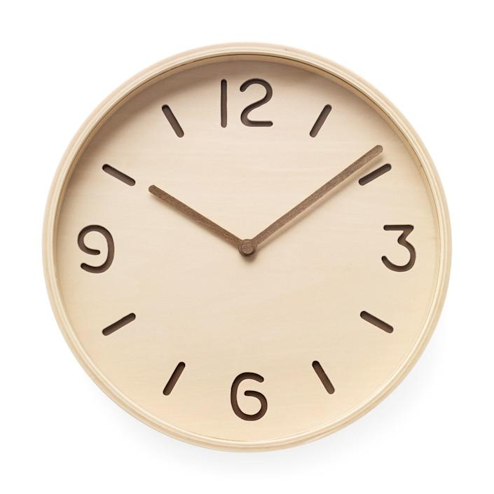 """$95, MoMa Design Store. <a href=""""https://store.moma.org/for-the-home/home/clocks/bi-color-plywood-clock/91838-91838.html"""" rel=""""nofollow noopener"""" target=""""_blank"""" data-ylk=""""slk:Get it now!"""" class=""""link rapid-noclick-resp"""">Get it now!</a>"""