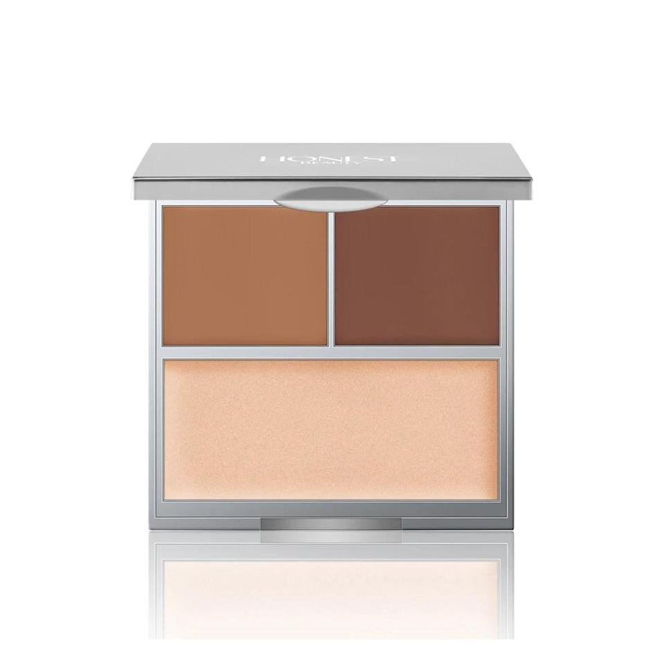 """<p><strong>Honest Beauty Contour + Highlight Kit</strong></p> <p>Mix the two cream contouring shades to create your perfect shade, then brighten up the high points of your face with the universal illuminator.</p> <p>$34 (<a href=""""http://www.ulta.com/contour-highlight-kit?mbid=synd_yahoobeauty&productId=xlsImpprod14661037"""" rel=""""nofollow noopener"""" target=""""_blank"""" data-ylk=""""slk:ulta.com"""" class=""""link rapid-noclick-resp"""">ulta.com</a>).</p>"""